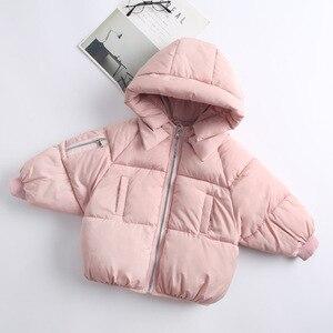 Image 4 - 2 6Yrs子供のカジュアルアウターコート女の子コールド冬暖かいフード付きコート子供綿が詰め服子供たちジャケット