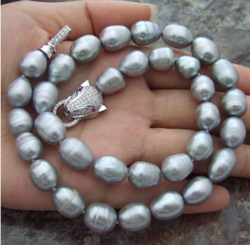 charm accessory choker shone> STUNNING 11-12MM SOUTH SEA SILVER GREY PEARL NECKLACE 18 INCH