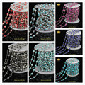 DIY Silver Plated Chain Jewelry Evil Eye Lampwork Beads Chain Glass Multi Color Round Coin Link Chain Rosary Wholesale JD0143