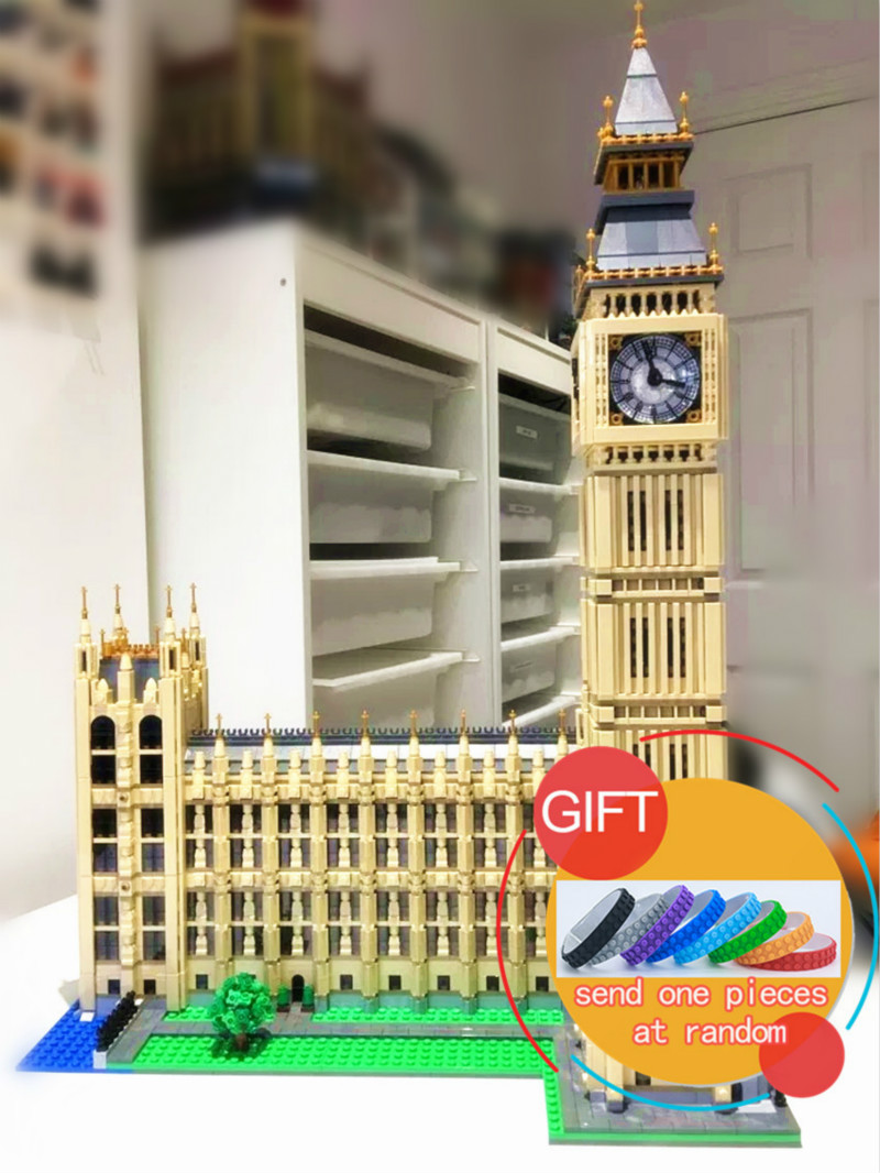 17005 4163Pcs City Street Series Big Ben Elizabeth Tower Set Model Building Kit Blocks Bricks Compatible with 10253 Toys lepin lepin 17005 4212pcs street view series london big ben model building blocks set bricks toys for children gift 10253