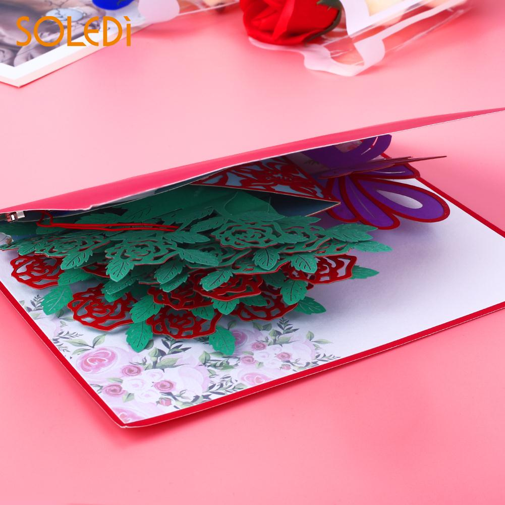 3d Paper Craft Music Flower Greeting Card Led Light Decorating 6