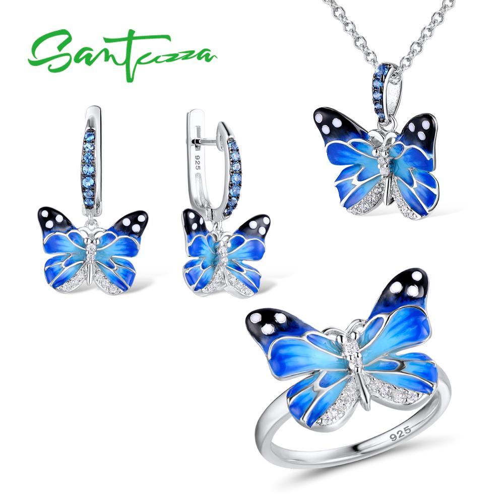 Santuzza Jewelry Set HANDMADE Enamel CZ Stones Butterflies Ring Earrings Pendent Necklace 925 Sterling Silver Women Jewelry Set