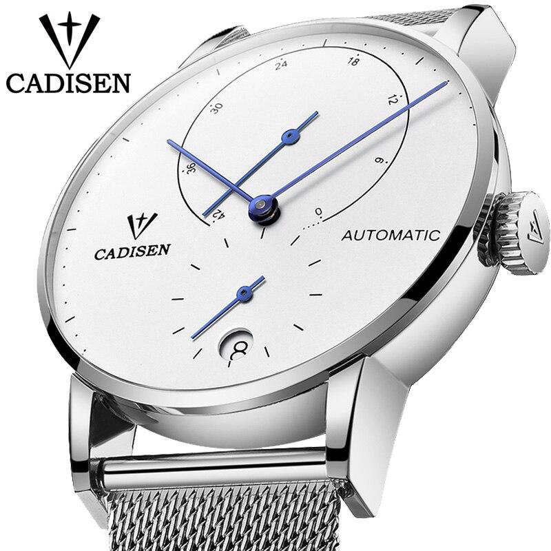 2019 CADISEN Luxus Mode Marke Männer Uhr Automatische Mechanische Uhr Männliche Stahl Business Wasserdichte Sport Relogio Masculino-in Mechanische Uhren aus Uhren bei  Gruppe 1