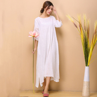White Cotton Linen Dress Women Summer Swing Dresses Chinese Style Long Robe O Neck Soft Mori