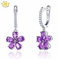 Hutang Genuine Gemstone African Amethyst Solid 925 Sterling Silver Flower Earrings Fine Jewelry For Women S