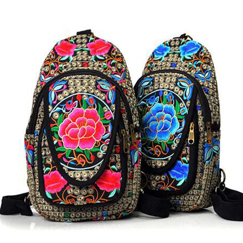 Vintage Embroidery Women Boho Bag Hmong National Canvas Embroidery Backpack  Embroidered Single Shoulder Bag Chest Travel