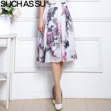 SUCH AS SU 2017 New Chiffon Skirt Women Elastic High Waist Ink Lotus Plum Blossom Printed Skirt Female Mid Long A-Line Skirt