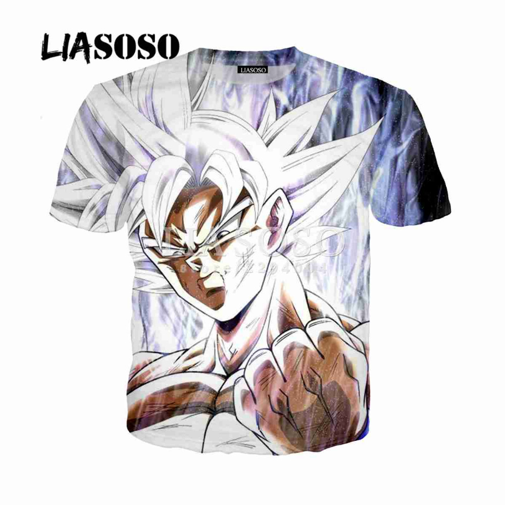 LIASOSO Men's 3D T Shirt Dragon Ball Z Ultra Instinct Goku Super Saiyan God Blue Vegeta Print Cartoon Summer Top T-shirt Y015