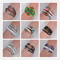 Nine Kinds High Quality  Braided Leather Peral  Silver & Gold Bracelets Animal & Plant Bracelet & Bangle For Women & Men Jewelry