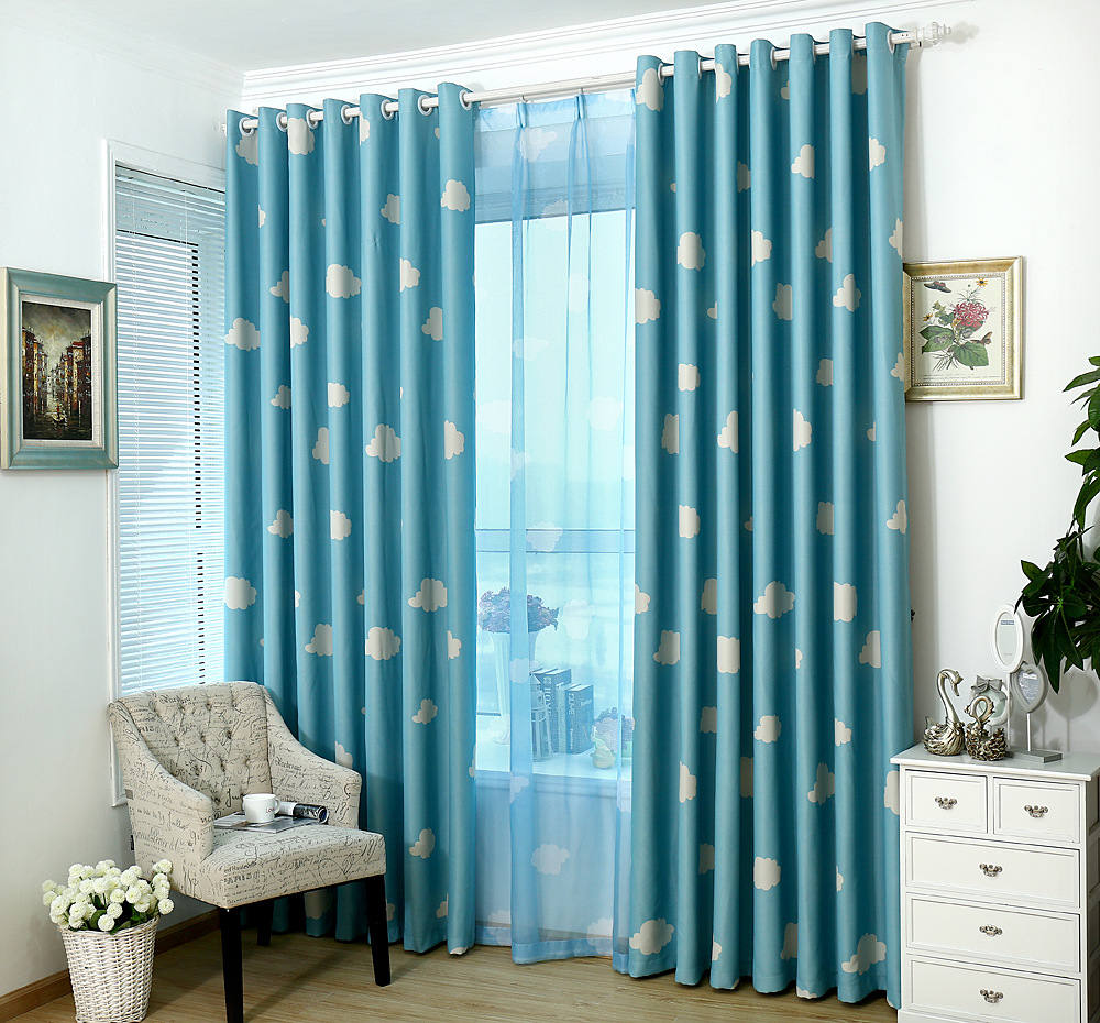 Hot Curtain Clouds Korean Fresh Shading Cloth Room Children Curtains For Living Dining Bedroom