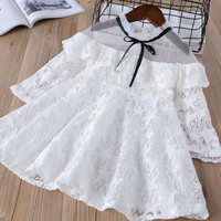 Hurave 2018 Summer Baby Girl Solid Lace Dress Clothes Children Long Sleeve Mesh Clothing Kids Cute