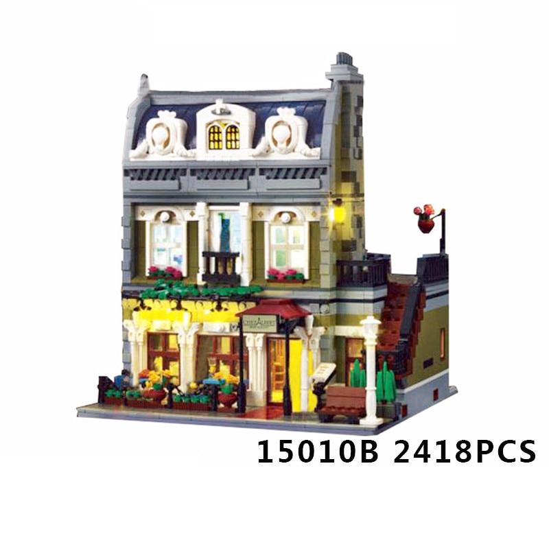 WAZ Compatible Legoe 10243 Lepin 15010 15010B Expert City Street Parisian Restaurant building blocks bricks toys for children new lepin 15010 expert city street parisian restaurant model building kits blocks funny children toys compatible with 10243 gift