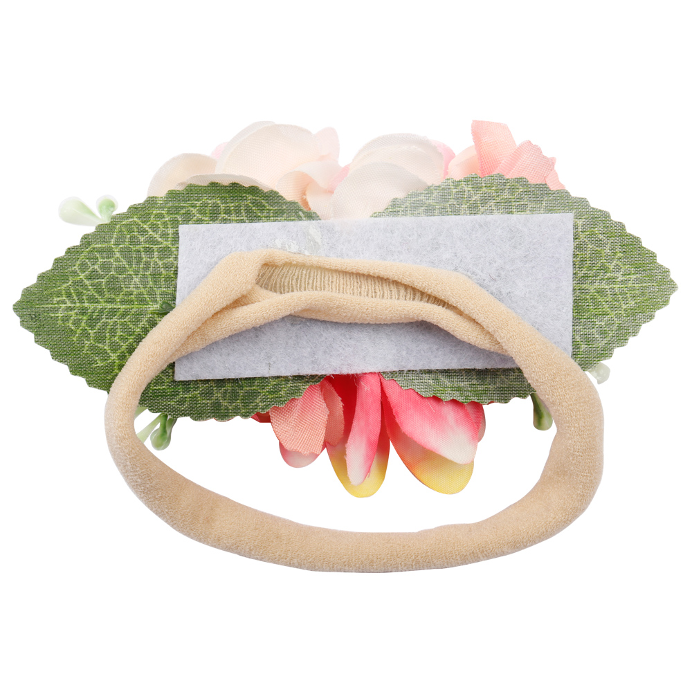 AHB Flower Crown Nylon Headband for Baby Girls Soft Floral Tiaras Elastic Head Band Photography Props Newborn Birthday Headwear in Hair Accessories from Mother Kids