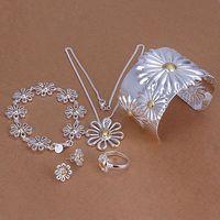 Livraison gratuite 925 bijoux argent plaqué ensemble de bijoux, Bijoux de mode mis chrysanthème 5 peças ensembles ensemble de bijoux SMTS314