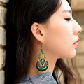 ethnic drop long dangle earrings for women green yellow agate bronze alloy hanging copper plated hook style vintage jewelry