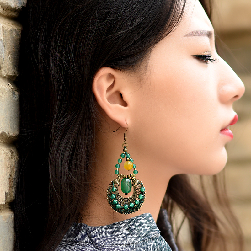 ethnic drop long dangle earrings for women green yellow stone bronze alloy hanging copper plated hook style vintage jewelry