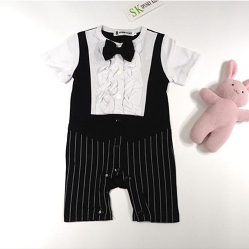 3b4197fd5f6b Black One Piece Gentleman Wedding Suit Baby Boy Bow Tie Romper ...