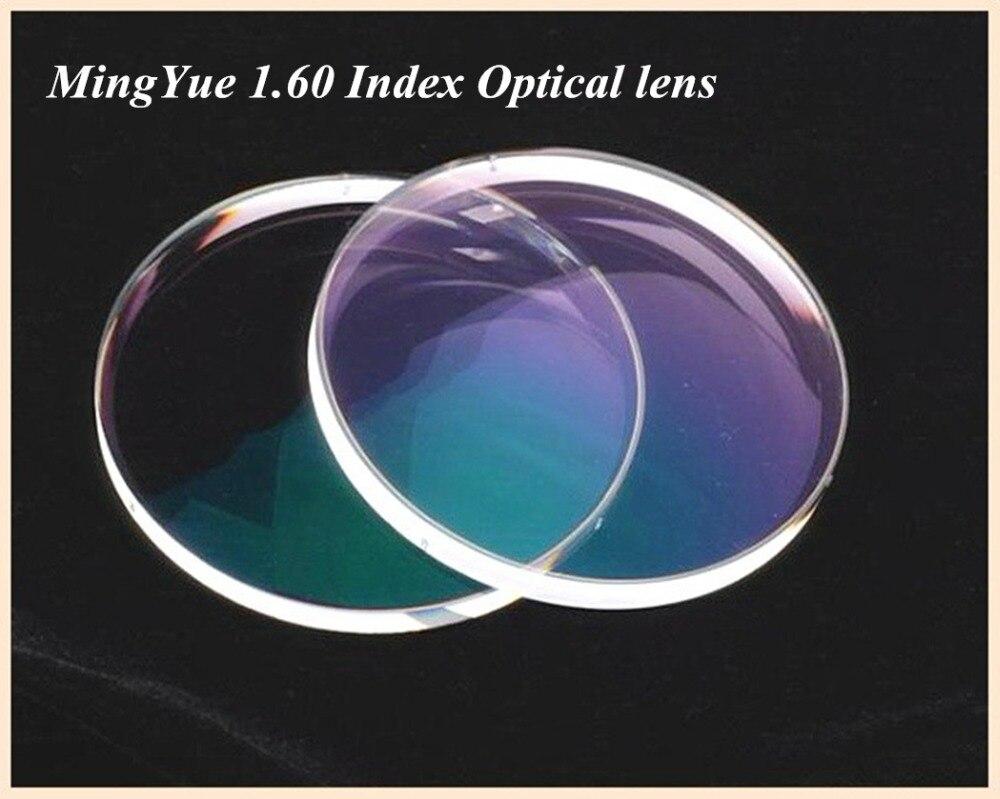 Mingyue 1.60 Ultra mince résine indice lentille myopie prescription lentilles traitement gratuit 1.60 cadre lentille Oculos De Grau