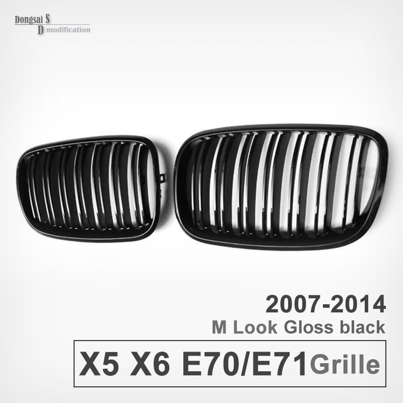 E70 / E71 Front Bumper Grill For BMW X5 X6 2007 - 2014 Gloss Black / Matte Black 1pair matte black double slat kidney grille front grill for bmw e70 e71 model x5 x6 suv m sport xdrive 2008 2012 car styling