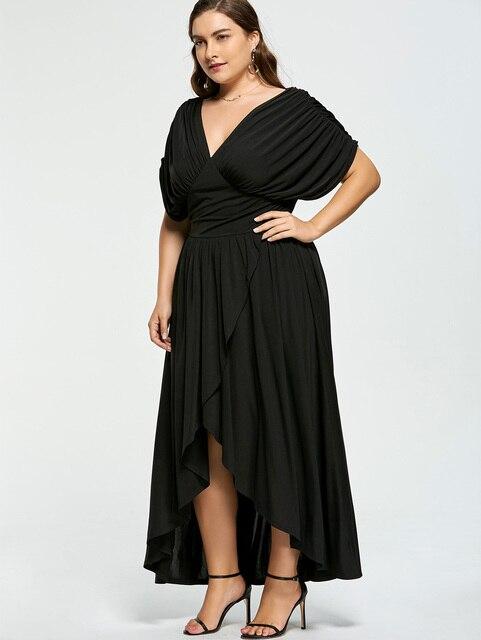 Gamiss Plus Size V Neck Women Summer Dress Short Sleeve Party Dress ...