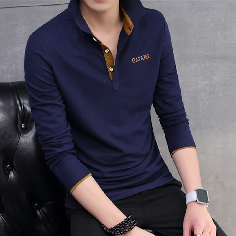 The new spring 2019 long sleeve T-shirt man trend of cultivate one's morality Young men's lapel personality T-shirt