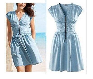 Ladies Baby Blue High Waist Dresses Summer Causal Dress Denim Cotton Pleated Girl Spring Slim woman clothes work wear - Shop312854 Store store