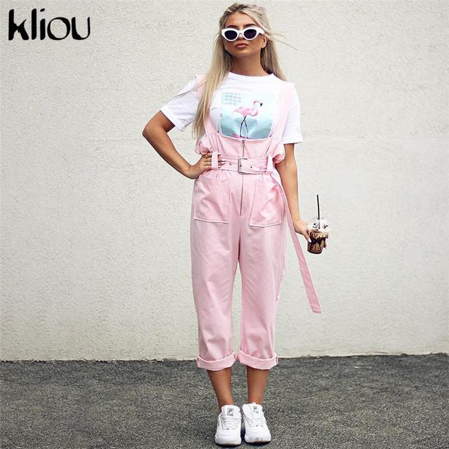 Kliou Shoulder Strapes Zipper Pockets Wide Leg Pants Pink Solid Jumpsuit 2018 Autumn Winter New Arrivals Fashion Female Jumpsuit