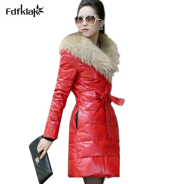 New Brand fur collar coat 2017 winter jacket women long leather down jackets plus size cotton-padded parkas female S-5XL A321 uwback 2016 new brand winter jacket women plus size 4xl faux fur collar down coat women black thicken padded parkas mujer tb1181
