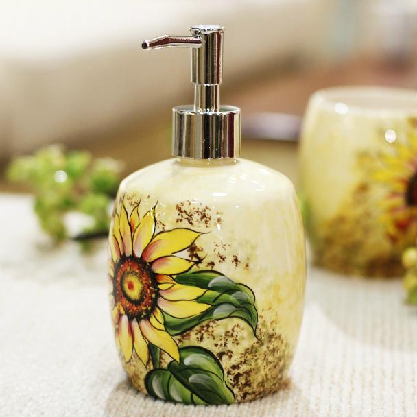 Sunflower Bathroom Set Handmade Drawing Four Pieces Ceramic Bathroom Set  For Home Decor In Bathroom Accessories Sets From Home U0026 Garden On  Aliexpress.com ...