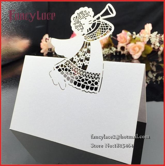 Famous 50pcs Wedding Laser Angel Place Names Cards Baptism Table  BI77