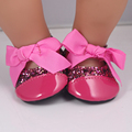Baby Born zapf Doll Shoes Fit 43cm Doll Baby Born zapf Red Leather Doll Shoes With Pink Bow Toy Dance Shoes DS17