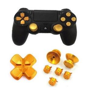 Image 2 - 金属アナログジョイスティックサムスティックグリップキャップ + dpadアクションd パッドボタンプレイステーションデュアルショック4 PS4 DS4ゲームパッドコントローラ