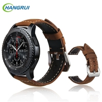 Hangrui Leather Strap For Samsung Gear S3 Band Replacement Genuine Watch Straps For Gear S3 Classic