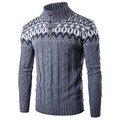 Sweater Men Autumn Winter 2017 Fashion National Wind Sweater Spell Color Knitwear Pullovers Slim Fit Knitted Mens Sweaters XXL