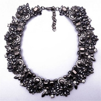 XG076 New Arrival 2015 High Quality Vintage Statement Necklace Chunky Crystal Necklace Silver Chain Choker Wholesale
