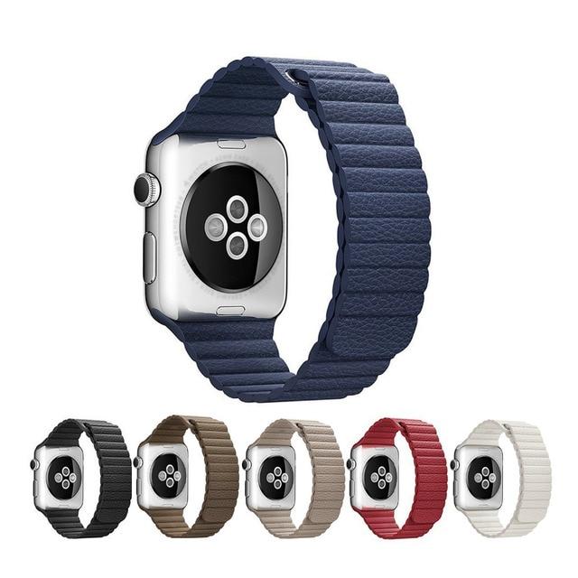 Натуральная Кожа петля для apple watch band 42 мм 38 мм Кожаный ремешок braclet Магнитная застежка ремешок для часов iwatch 2/1 Аксессуары
