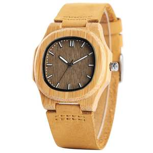 Image 4 - Men Women Wooden Watch Creative Round Shape Dial Light Wood Case Genuine Leather Band Bamboo Wood Clock Male Reloj de madera TOP