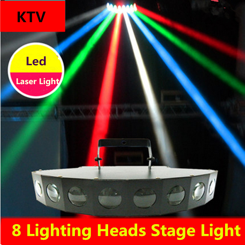 1PCS 8 Lighting Heads Stage Light Led Laser Light For KTV bar Sound Control Performance Colorful Stage Lamp110V 220V