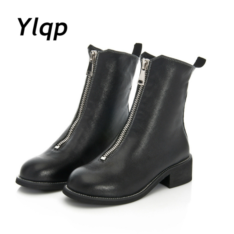 2018 New Vintage Female Autumn Winter Thick Heel Sheepskin Ankle Boots for Women High Quality Women's Genuine Leather Shoes