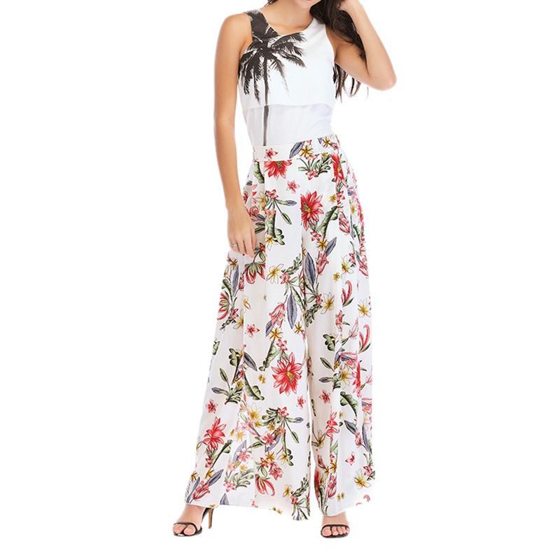 Girls Women Floral Print   Wide     Leg     Pants   Casual Work   Pant   2018 Summer Boho Beach Split High Waist Chiffon Long Trousers Beach