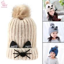 f3d7d8f83bd Winter Baby Kids Knitted Hat Warm Double Layer Hairball Pom Pom Cap Cute  Cat Cartoon Children
