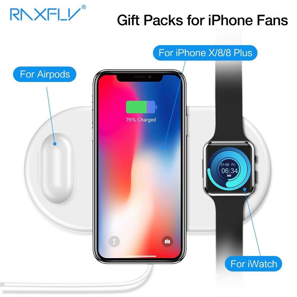 RAXFLY 3 in 1 QI Caricatore Senza Fili Per iPhone 8 Più di X XR XS Max Per Apple Osservare Caricatore Rapido veloce di Ricarica caricatore inalambrico