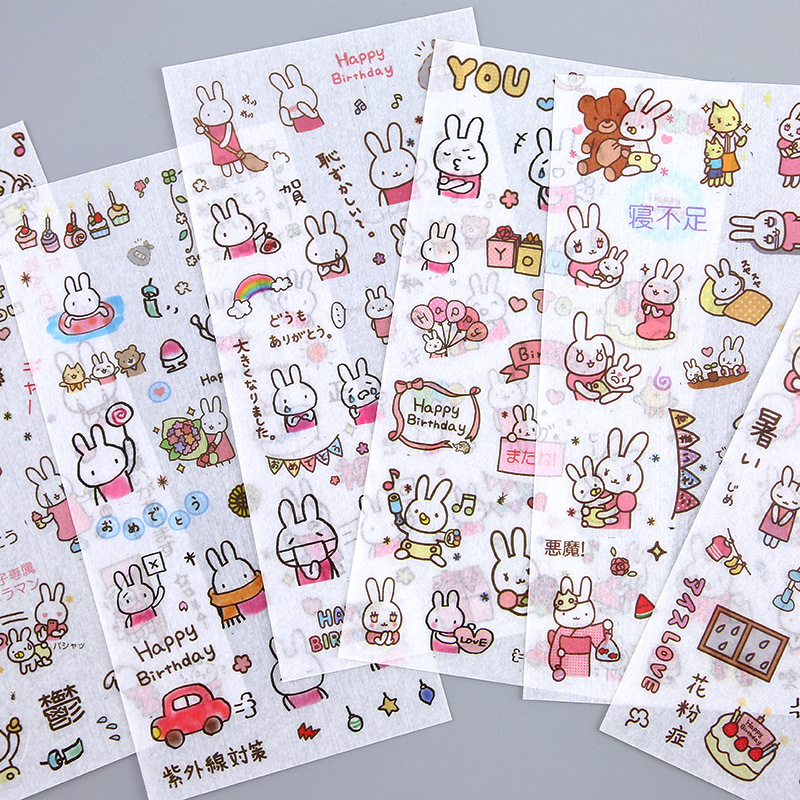 6 Sheets/pack Pink Rabbit Label Stickers Set Decorative Stationery Stickers Scrapbooking Diy Diary Album Stick Lable
