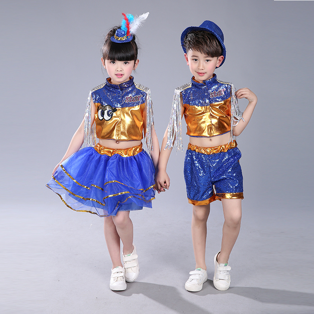 US $19 54 15% OFF|Children's Jazz Dance Costume For Girl Sequins DJ Dance  Clothing on Aliexpress com | Alibaba Group