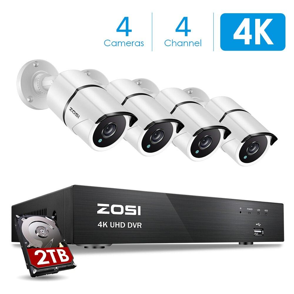 ZOSI 4 K Ultra HD Sistema di Sorveglianza 4 Canali H.265 + 4 K Video Dvr con 2 TB HDD e 4x4 K (8MP) ip67 Pallottola Intemperie TelecamereZOSI 4 K Ultra HD Sistema di Sorveglianza 4 Canali H.265 + 4 K Video Dvr con 2 TB HDD e 4x4 K (8MP) ip67 Pallottola Intemperie Telecamere