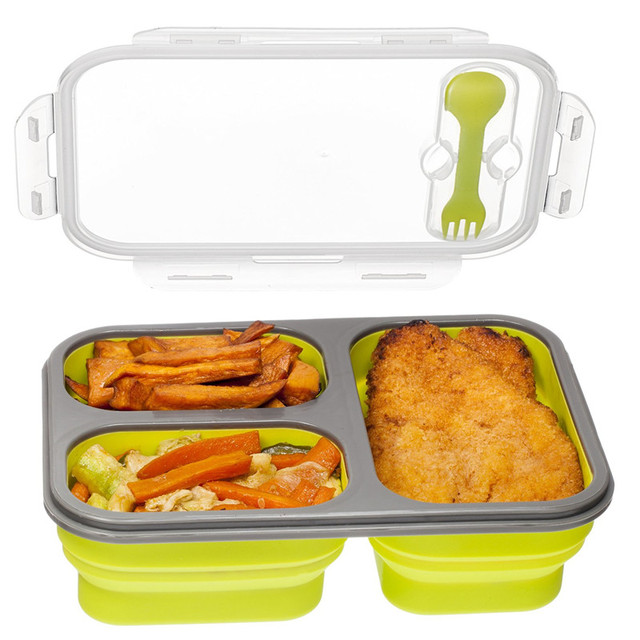 Silicone Collapsible Compartment Food Container With Lid Leak Proof Microwave Safe Color Random To