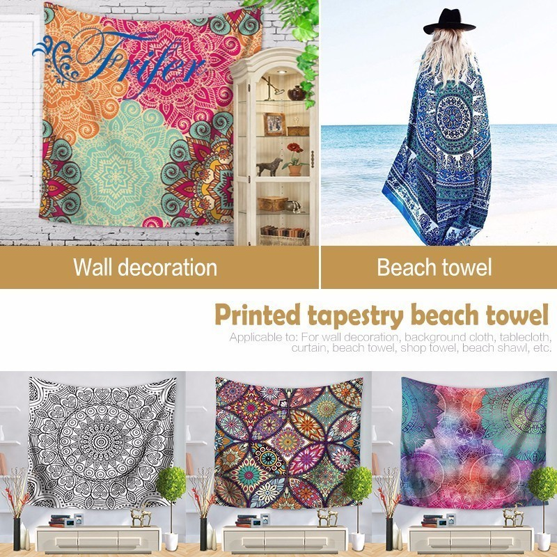 Polyester Indian Mandala Tapestry Wall Art Hanging Carpet Beach Towels Decorative Blankets Tablecloths Home Decor Accessories Smart Electronics