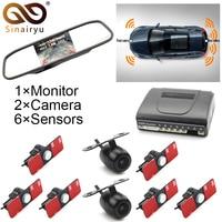 Sinairyu Dual Channel 5 Car Mirror Monitor with Front/Rear view Camera + 16MM Flat Original 6 Sensor Video Parking Assist Radar