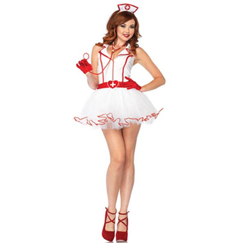 2015 funny new halloween costumes charming and sexy zipper front petticoat dress cosplay nurse costumes l1475 - Halloween Petticoat