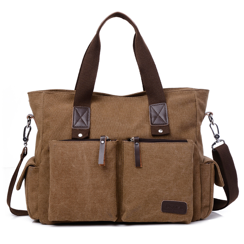2016 new casual style men's canvas shoulder bags with strap men office bag with leather with cell pehone pocket men's handbag casual canvas satchel men sling bag